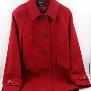LONDON FOG Women's Red Wool Pea Coat in Red